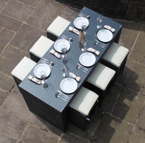 rattan outdoor garden furniture 6 seat bar set in black modern furniture deals