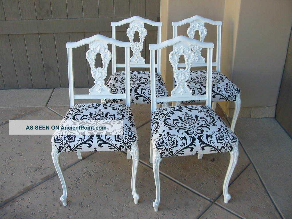 Set Of Four Vintage French Provincial Black And White Damask Dining Room Chairs Post 1950