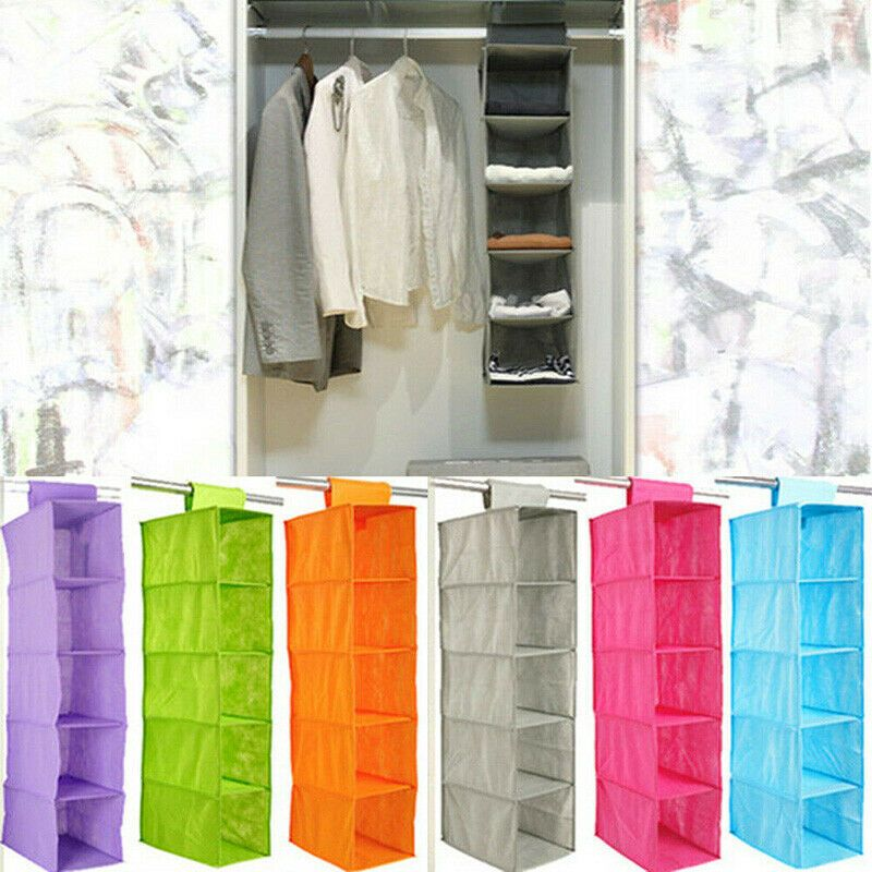 5 Tiers Hanging Closet Clothes Shoes Hanger Organiser Shelf Bag Storage Wardrobe Closet Organizer Wardrobe Closet Organizer Hanging Closet Closet Organizers