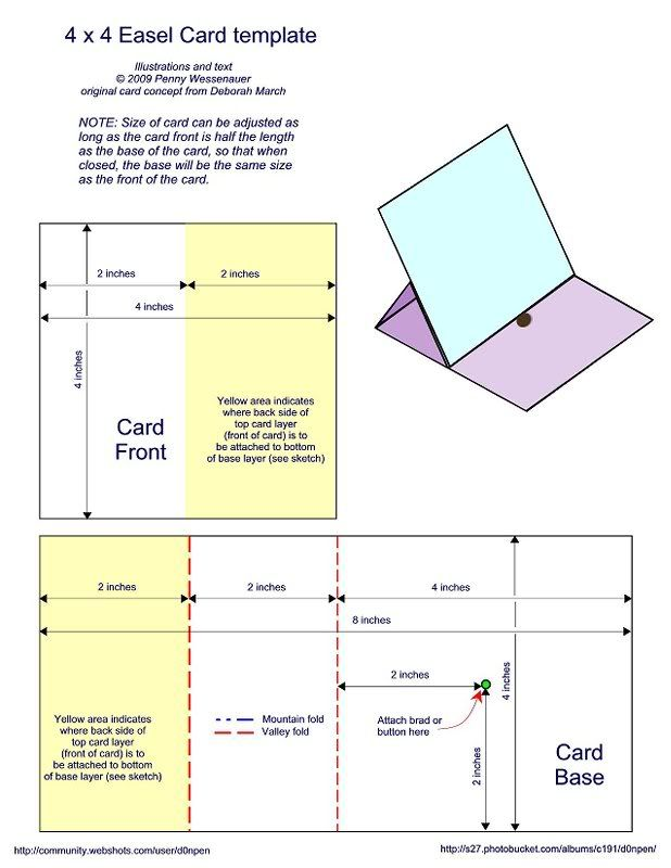 4 x 4 easel card template - bjl Templates Easel cards, Step
