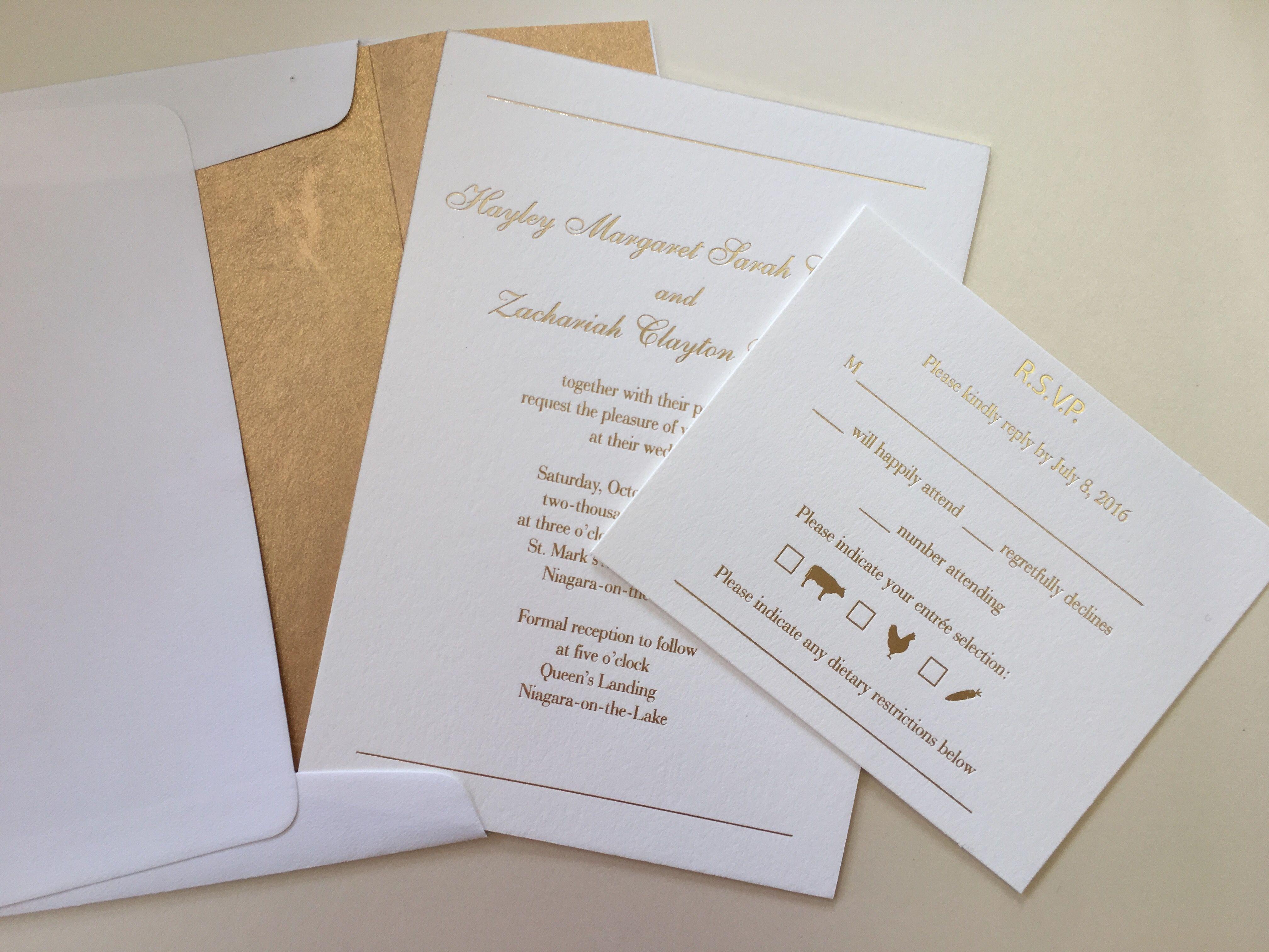simple white and gold wedding invitation   Wedding Invitations ...