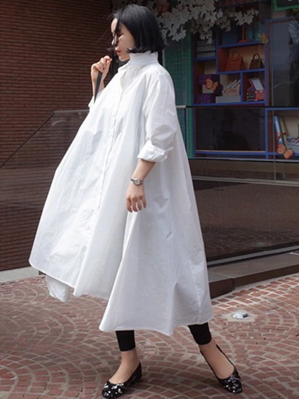 CY floral design oversized sleeves shirt dress oversize design in black white
