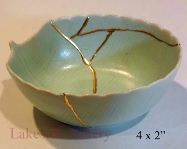 Celadon Kintsugi Pottery Mended With Gold Effect Kintsugi Kintsugi Art Japanese Ceramics