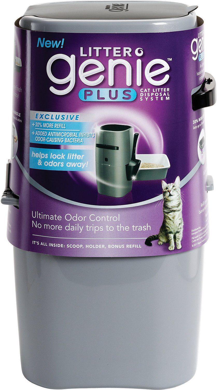 Litter Genie Plus Cat Litter Disposal System Silver Chewy Com Cat Litter Litter Odor Cat Litter Odor