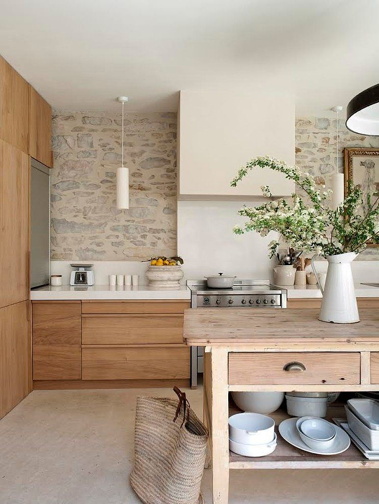 Kitchen Splash Back Stone LookThis Is A Nice Earthy With Its Simple Wood Cabinets Walls And Elegant Pendants Natural Flooring