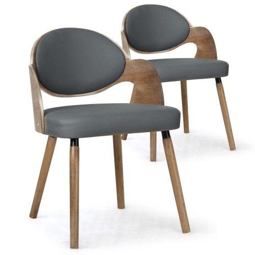 Lot de 2 chaises scandinaves Estel Bois Vintage et simili Gris