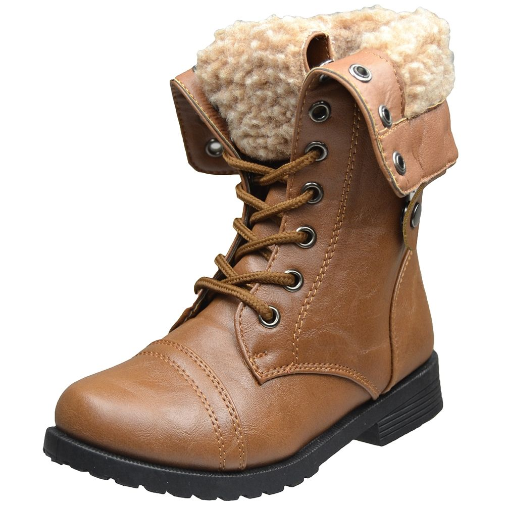 Kids Mid Calf Boots Fold Over Cuff Fur Lined Lace Up Combat Shoes ...