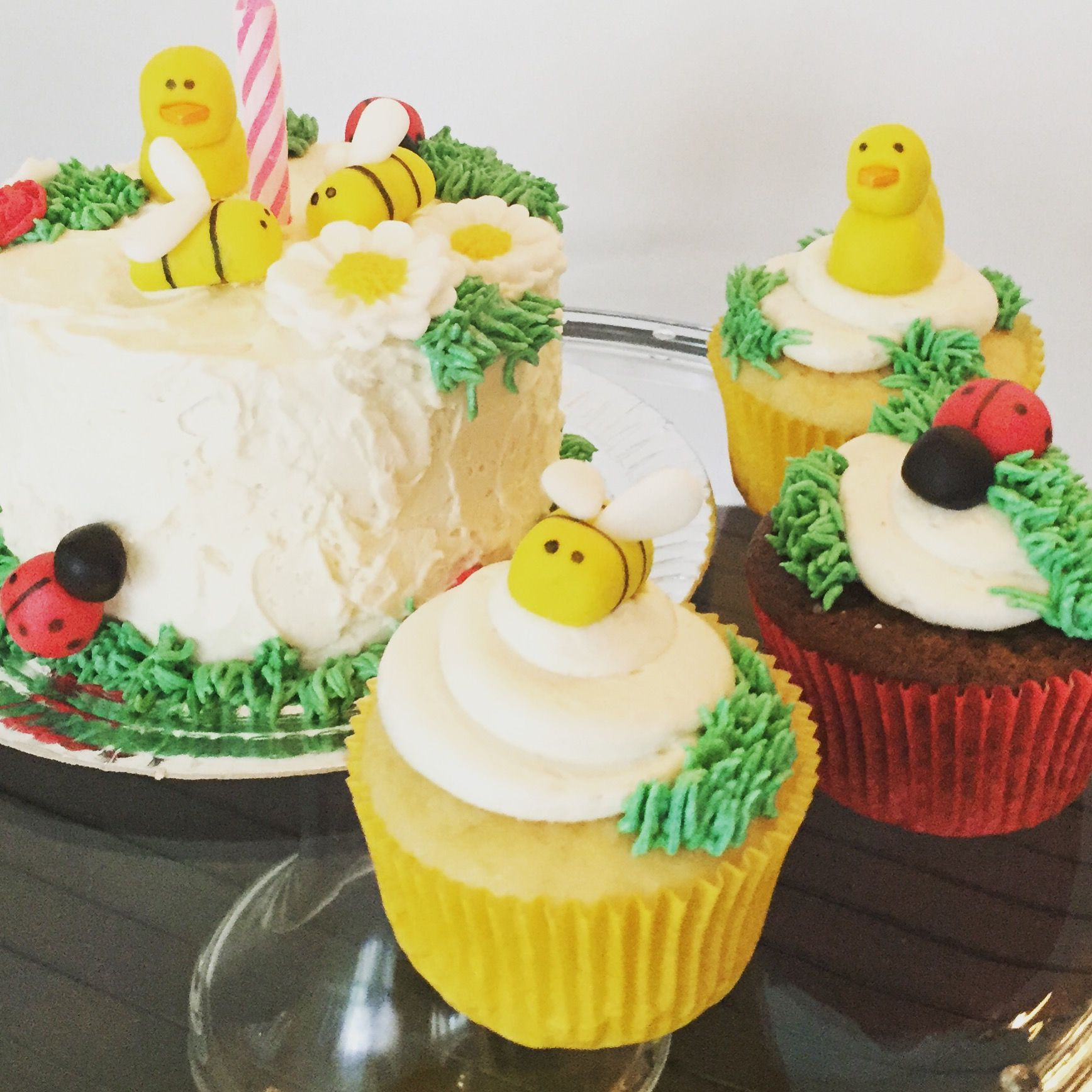 mini bugs duck cupcakes and mini cake ladybug bees and