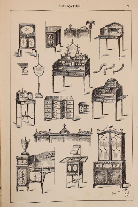 English Sheraton Furniture Designs, Large 1904 Antique Black U0026 White Print,  Interior Design, Arts And Crafts