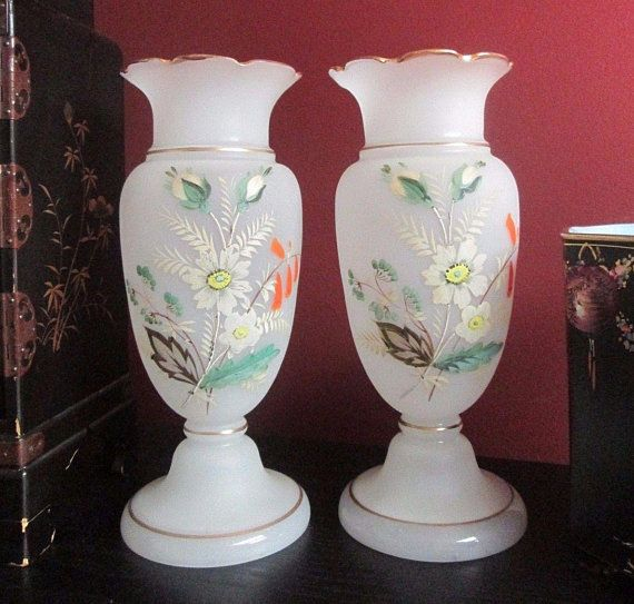 Pair Of Victorian Antique White French Opaline Glass Mantle Vases