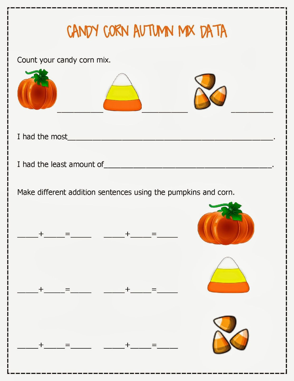4 Free Math Worksheets First Grade 1 Addition Pictures Objects Full Candy Corn Autumn Mix Fre Free Math Worksheets Free Math Math Worksheets