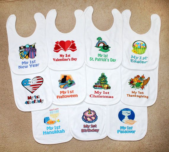 9 first holiday baby bib set new baby by littlecutiepiedesign first holiday baby bib yearly set new baby shower gift idea unique custom bib boy girl infant clothes personalized baby name my holiday negle Image collections