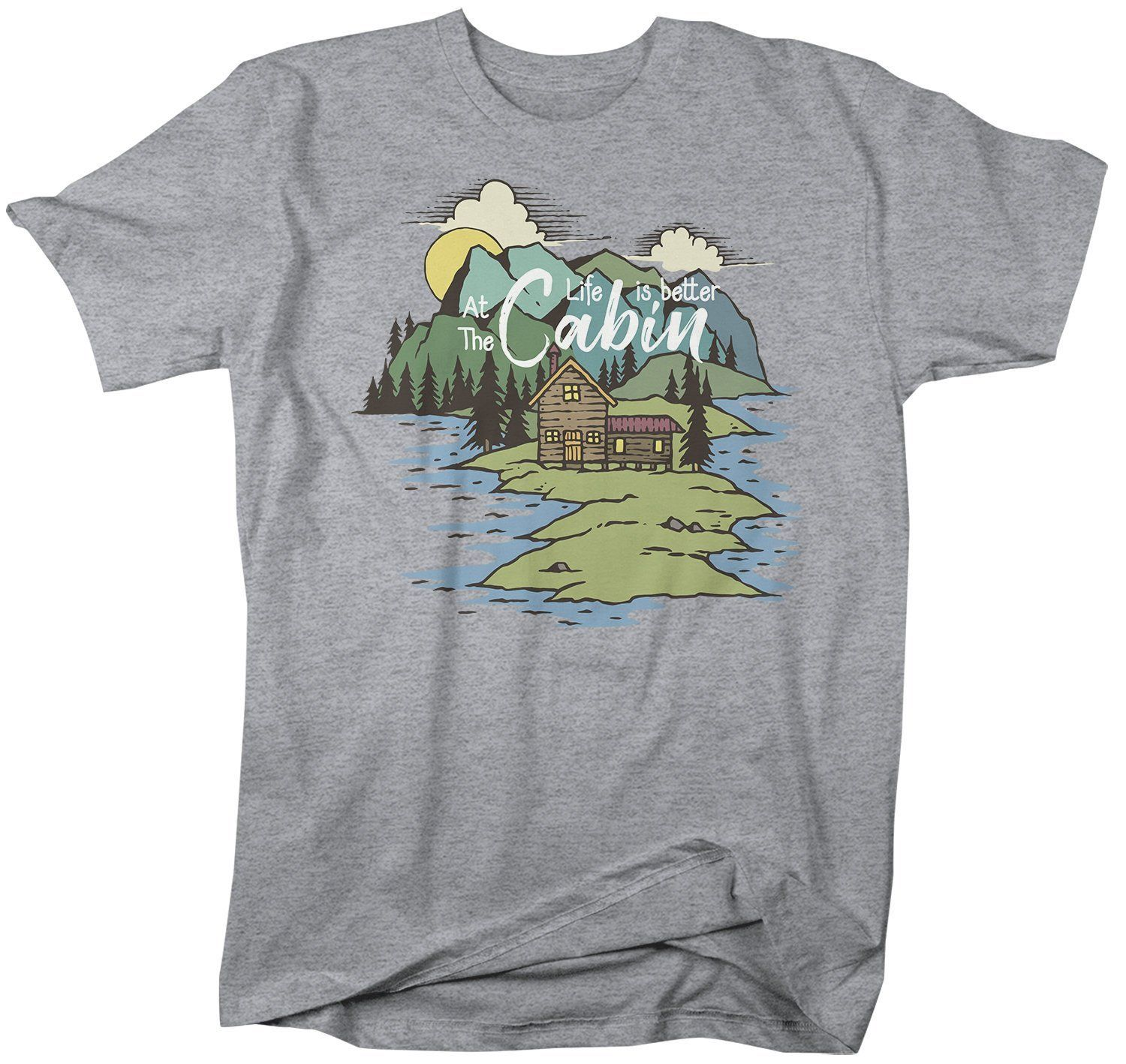 Men's Nature T-Shirt Life Is Better At Cabin Shirt Wanderlust Tshirt Camping Shirts Illustration Shirt – Products