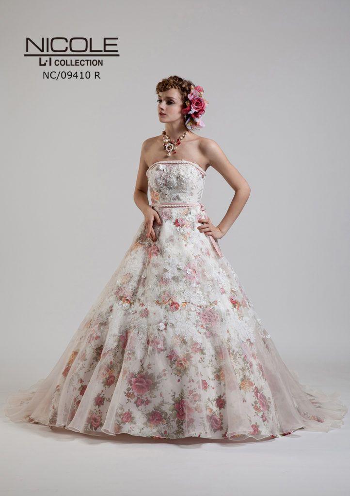 4a56f20a8283c NC-9410P - NICOLE カラードレス - 花柄ジャガードにナチュラルなバラの ...