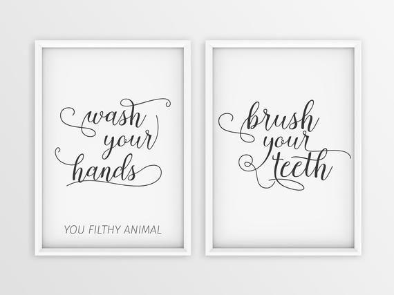 Lavarsi le mani  Lavarsi i denti arte del bagno citazioni arte del bagno moderno stampa darte in 2 pezzi set