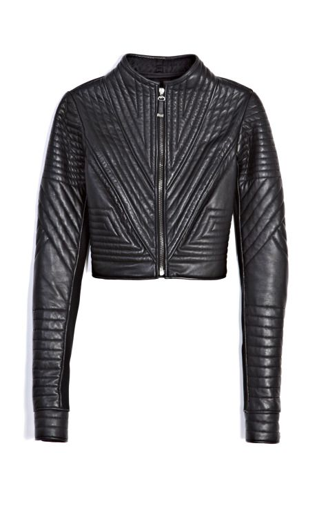 J. Mendel Cropped Leather Motorcycle Jacket