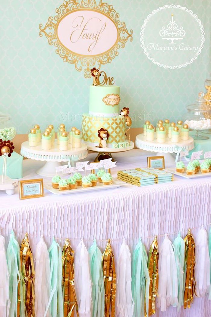 Sweet table from an Elegant Baby Lion Birthday Party via Karas