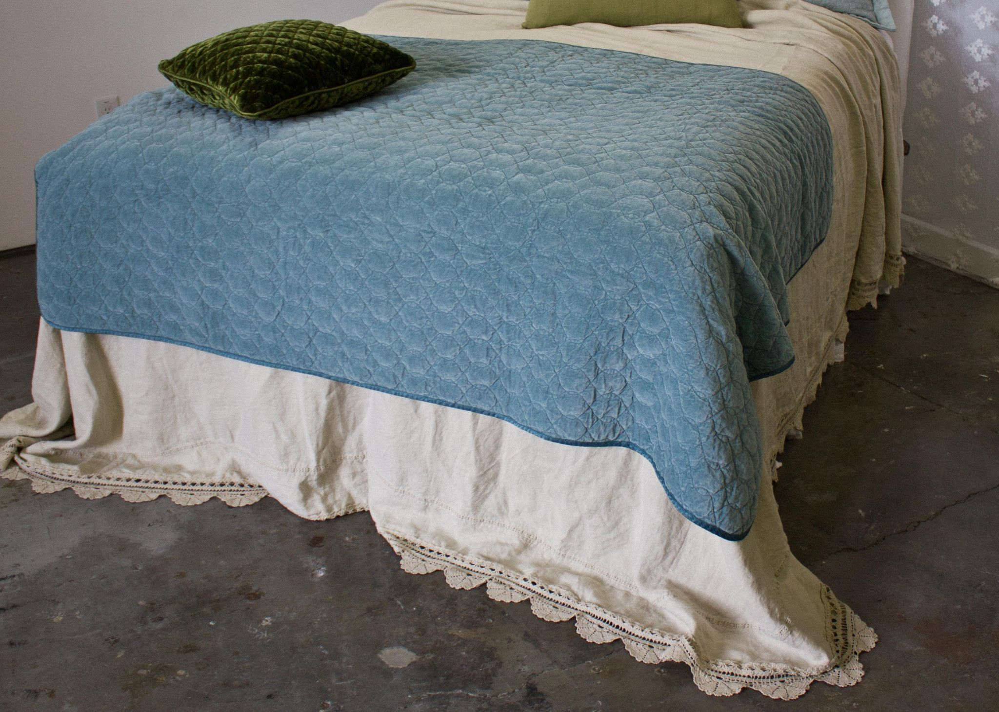 Velvet Quilted Large Throw Blanket with Satin Back in PACIFIC ...