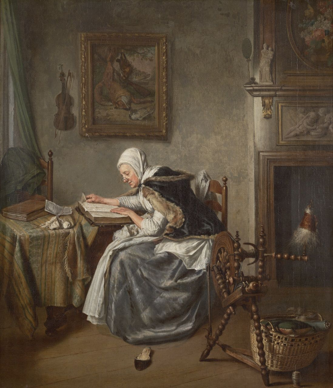 """""""Reading Woman"""" painted by Wybrand Hendriks, c. 1784-1800. Teylers Museum, Haarlem."""