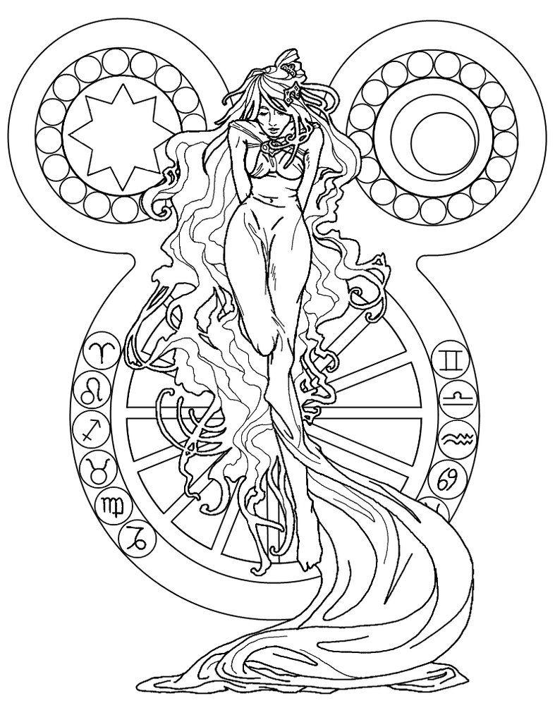 zodiac | coloring pages | Pinterest | Brujas y Dibujo