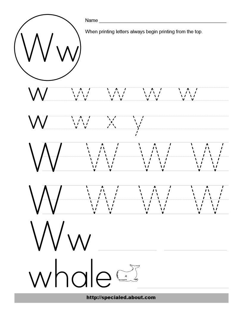 Image detail for -Free Worksheet Activities for the Letter W ...
