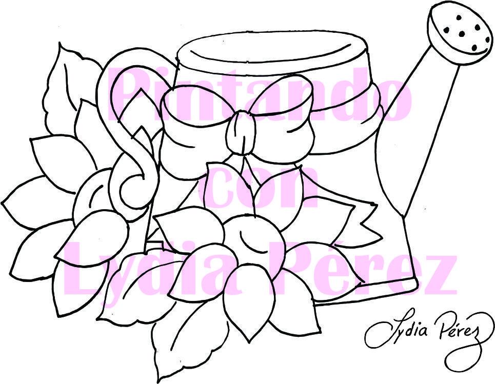 Molde Girasoles Con Regadera Pintura En Tela Dibujos En Tela Patrones De Bordados De Epoca