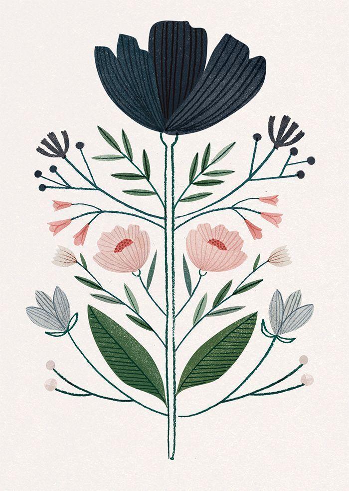 Clare Owen flower illustration, art | Blumen Illustration Print #flowersplantsillustration kleiner Tisch