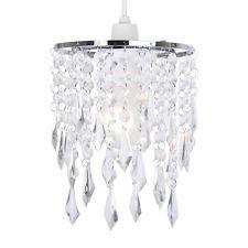 Silver Chrome & Clear Acrylic Crystal Ceiling Light Lamp Shade Chandelier Lights