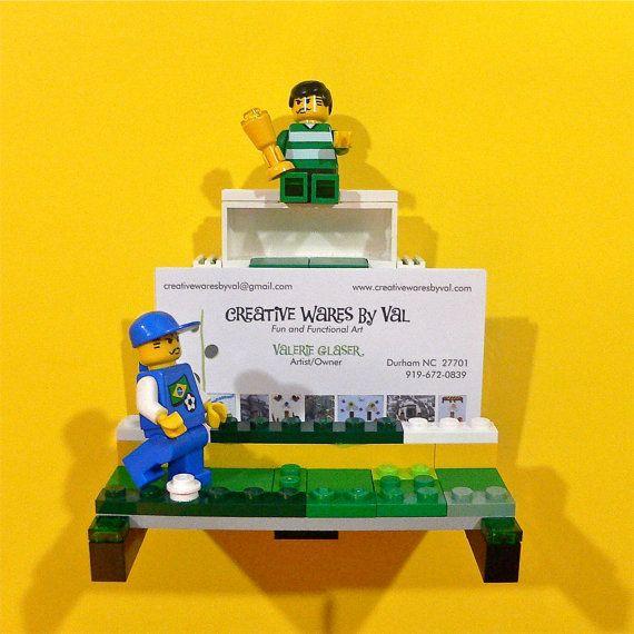 Lego Soccer Business Card Holder By Valglaser On Etsy 35 00 Lego Design Business Card Holders Lego