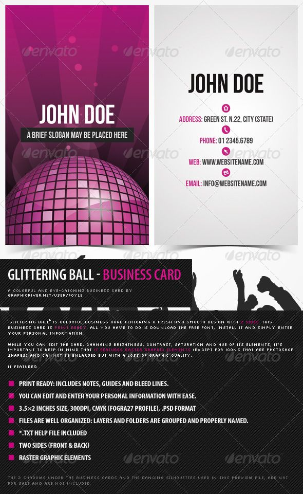 Glittering Disco Ball Colorful Business Card Colorful Business Card Disco Ball Photoshop Shapes