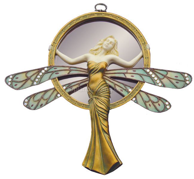 "Art Nouveau Lady Dragonfly 13"" Wall Mirror Statue"