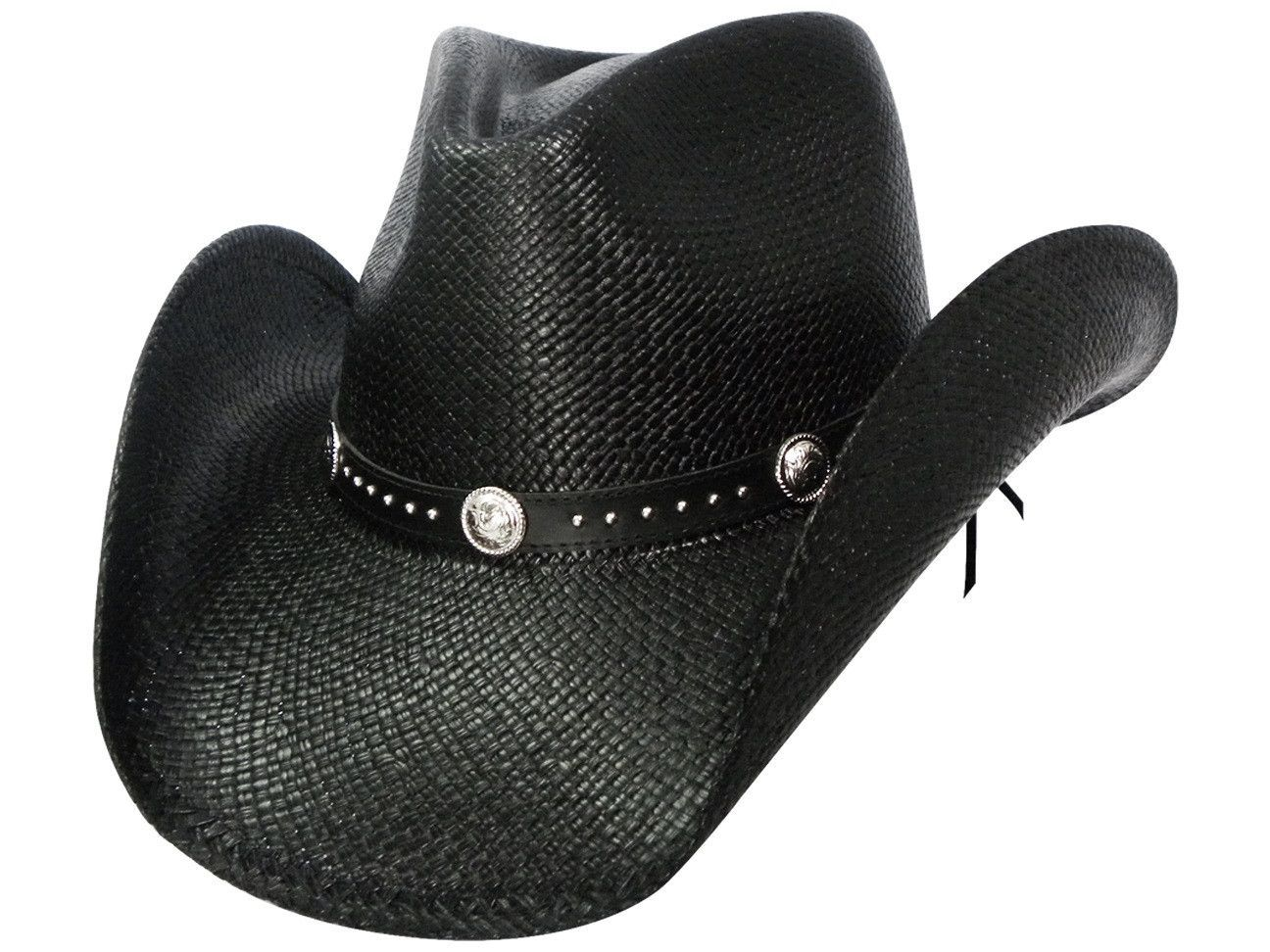 c9928845b TERRI Austin Black Panama Straw Cowboy Hat with Pinchfront Crown in ...