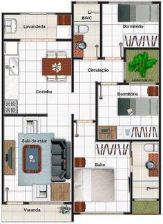 planos de casas pequenas 3 habitaciones de un piso