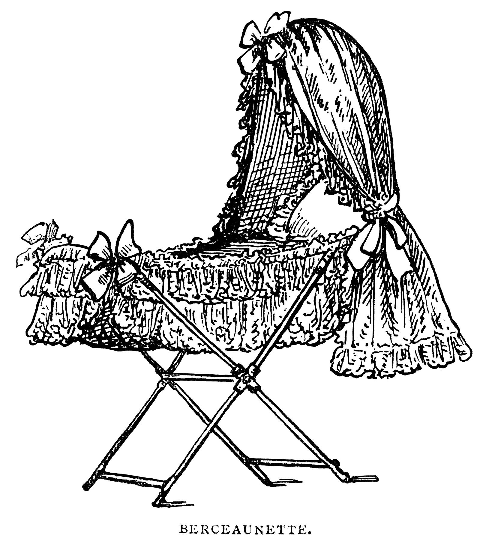 baby bassinet clip art, black and white graphics, vintage ...