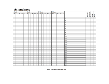 A Horizontal Attendance Chart For A Teacher To Track Students