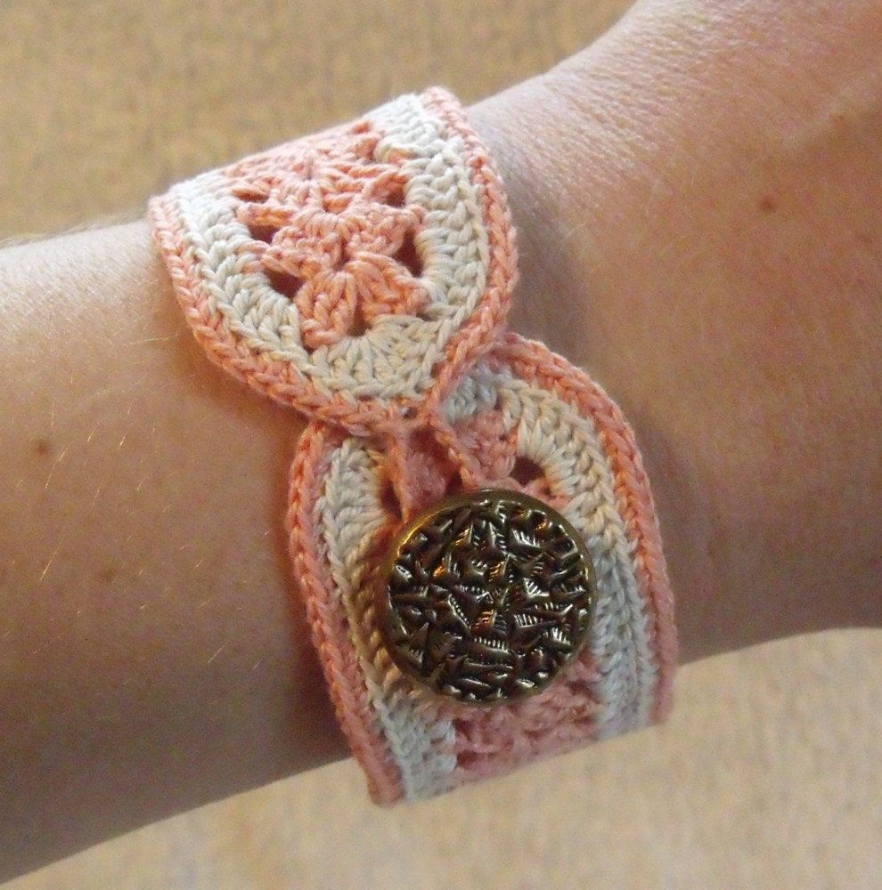 Peach and Beige Crocheted Bracelet - Vintage Inspired Victorian ...