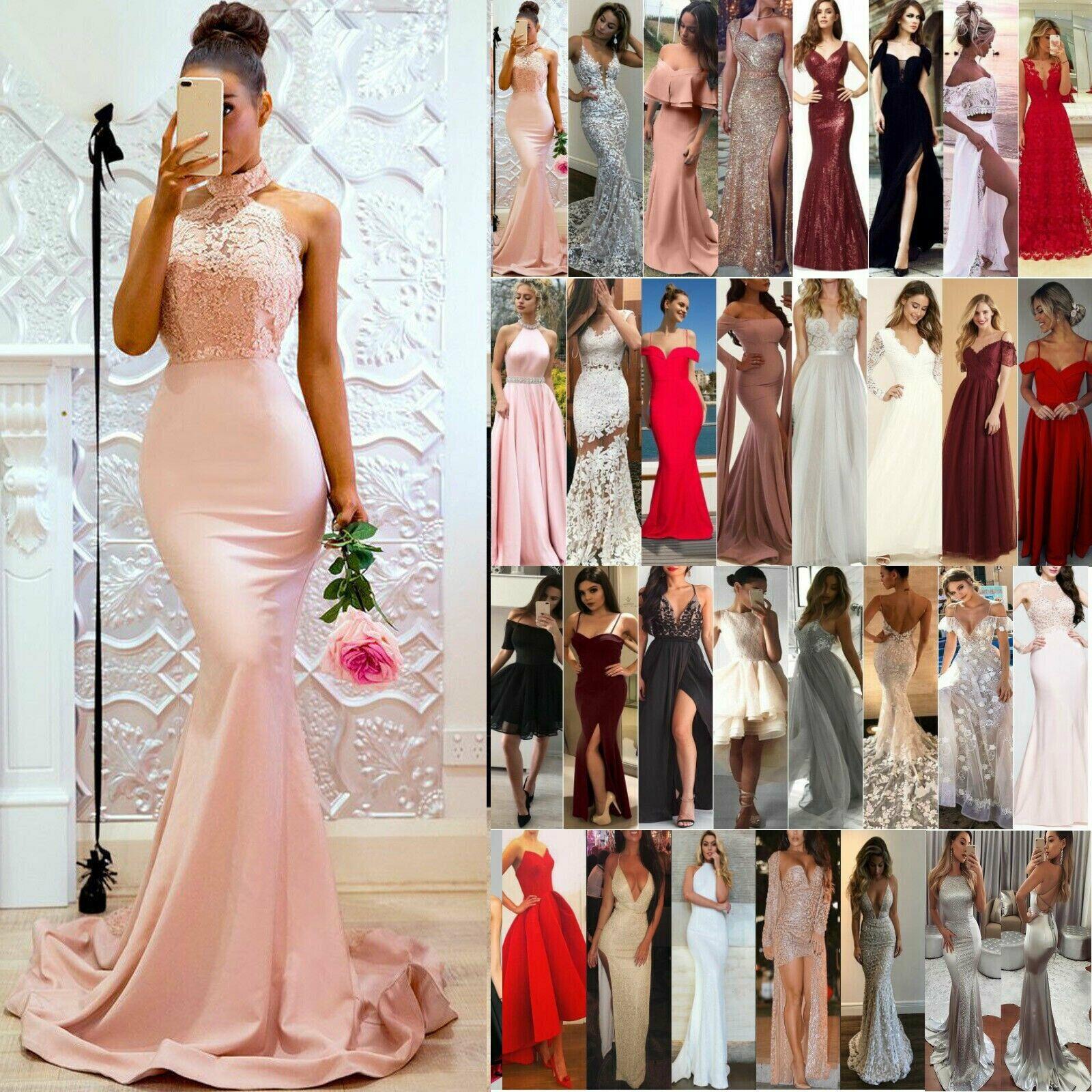 Damen Spitze Brautkleid Rückenfrei Hochzeit Abendkleid Lange