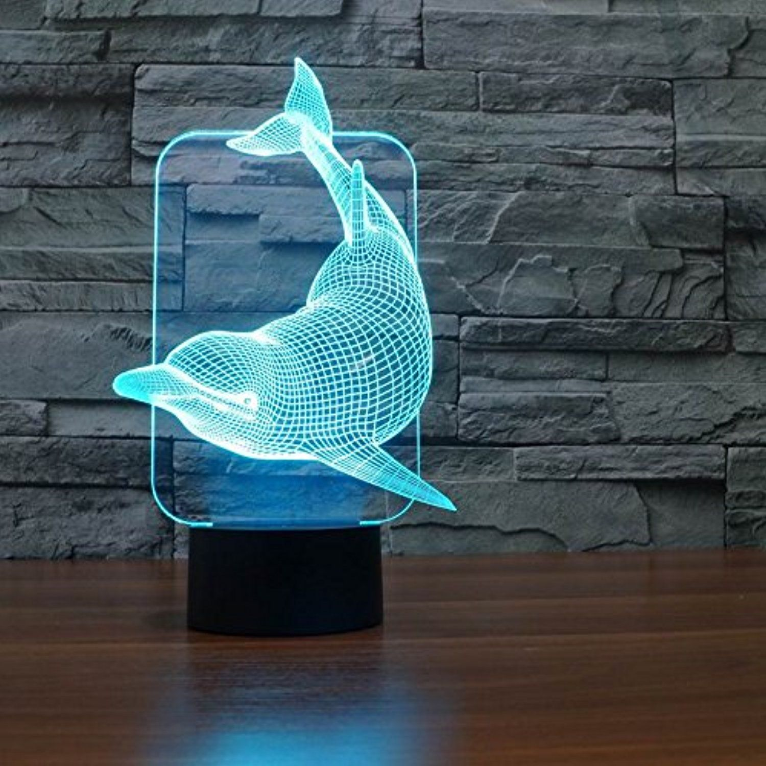 Saiam 3d Lamp Desk Table Light Cute Lovely Dolphin Shapes 7 Colors Amazing Optical Illusion Led Lamp Art Sculpture Lig 3d Led Night Light Lamp Night Light Lamp