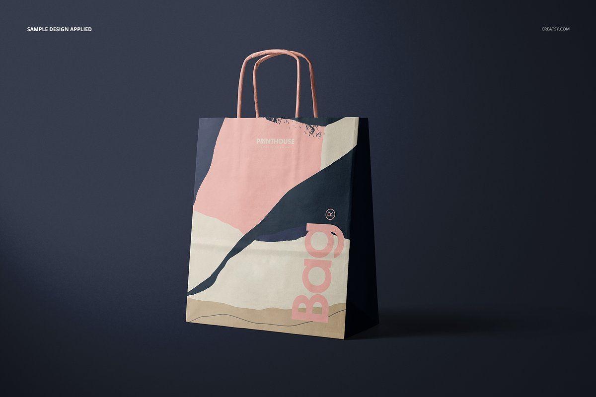 Download Twisted Handles Paper Bag Mockup Set Bag Mockup Flyer Design Layout Mockup Design
