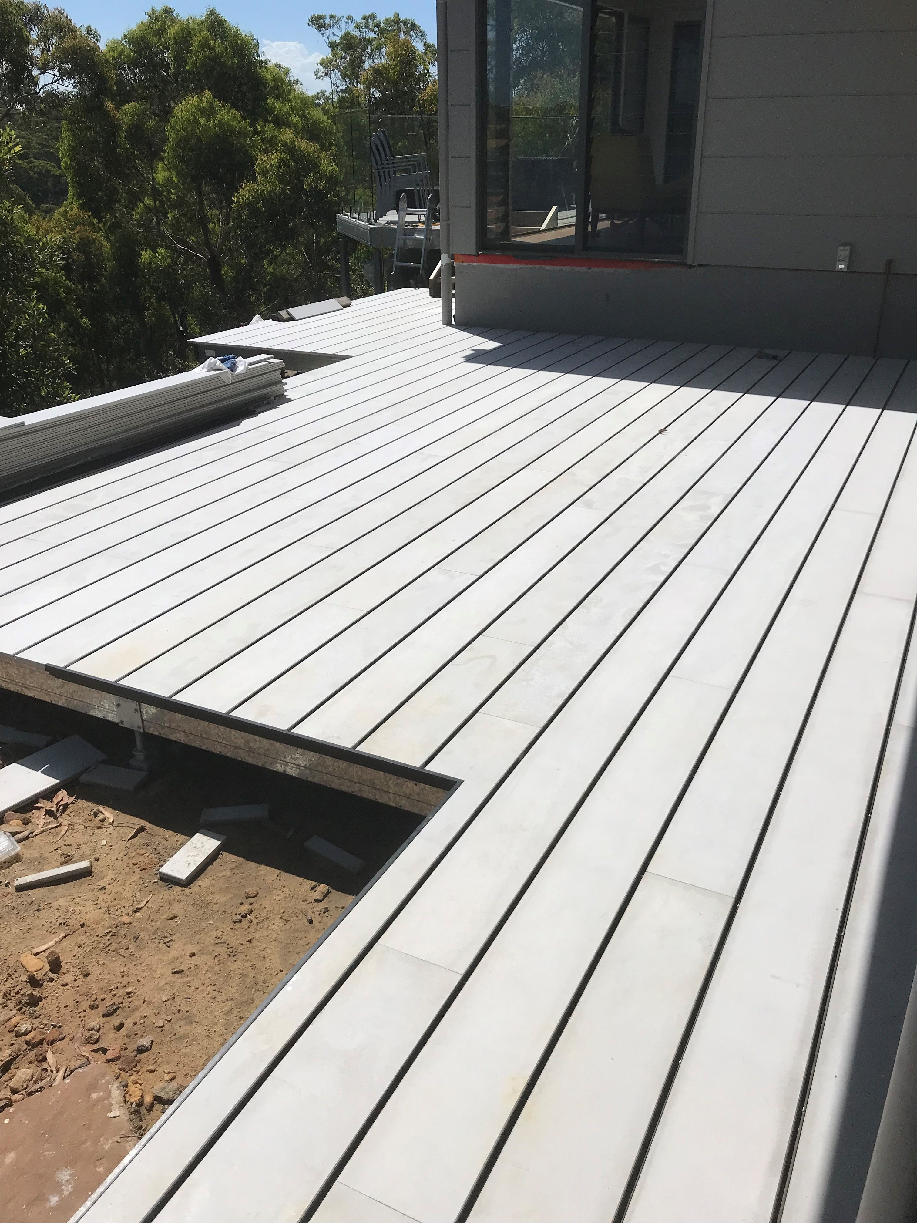 Decking Over A Spantec Frame For A Job At Mt Colah Nsw Roof Framing Deck Framing Backyard Patio Designs