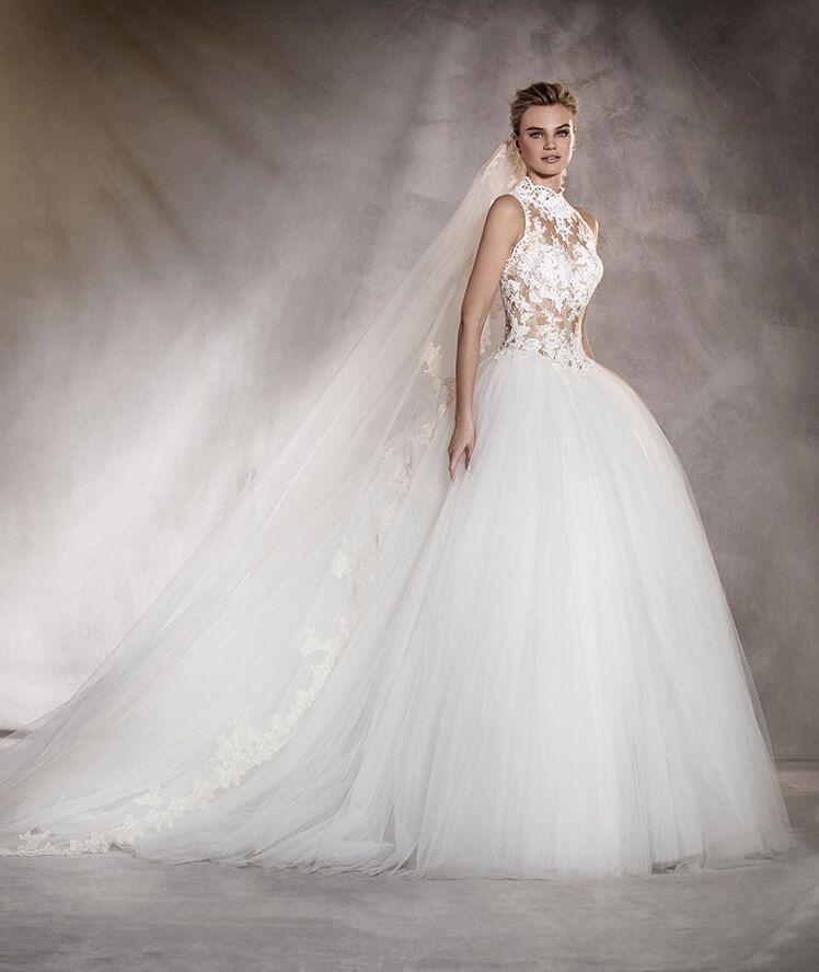 almeria - vestido de novia en tul, escote corazón debajo cuello alto
