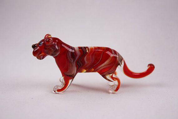 Glass tiger art glass home decor glass tiger fused glass tiger ornament art glass fused glass  murano glass handmade(275)