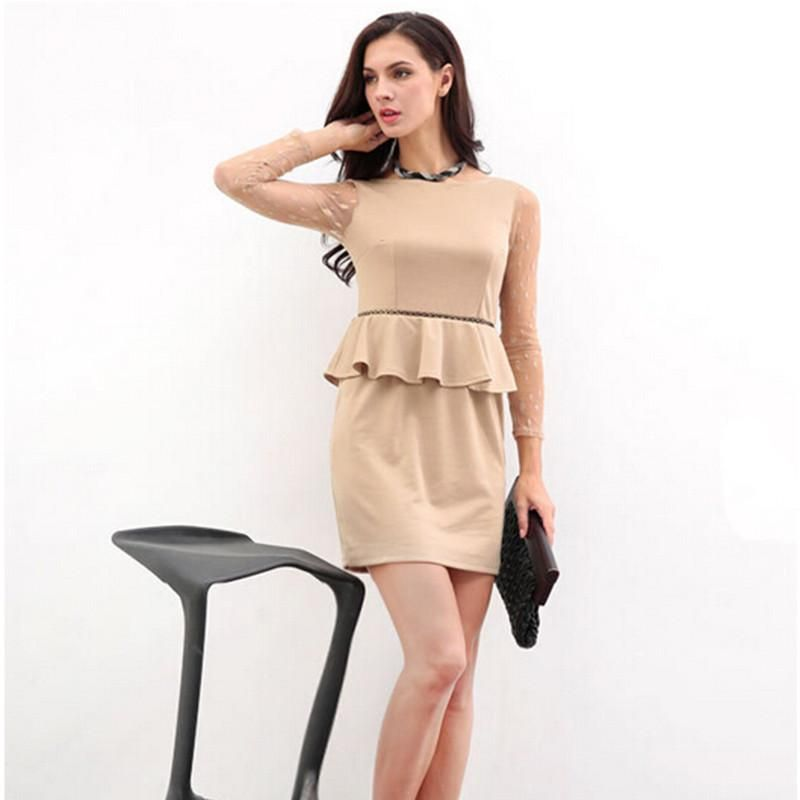 3ead24046aa1 Formal Women Work Dresses Khaki O-Neck Lace Long Sleeve Mini Dress Sexy  Summer Casual Work Dresses