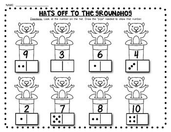 (sample page) GROUNDHOG DAY ACTIVITY PACK! (domino math