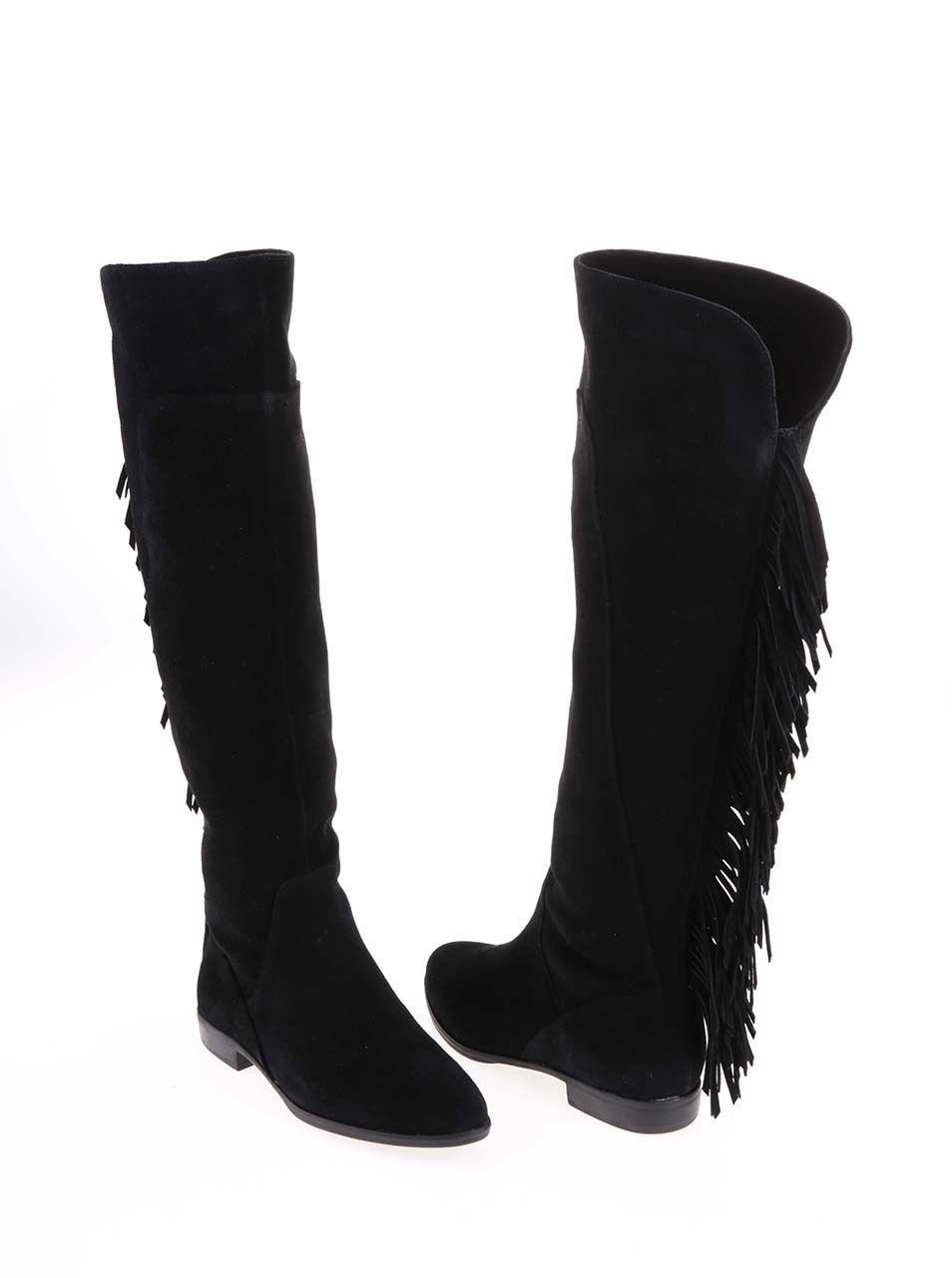 caf18e09e8f6 Čierne kožené čižmy so strapcami ALDO Cyndy