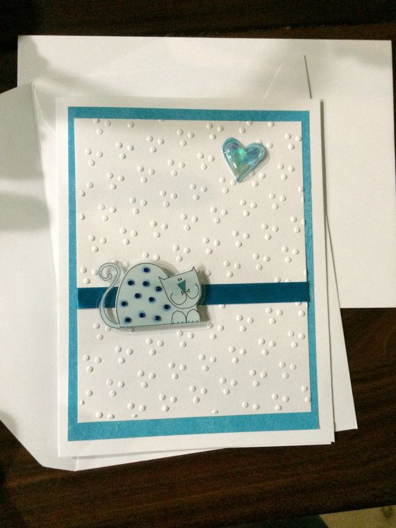 Handmade Cat Embossed Greeting Card by CattailsnDragonflies