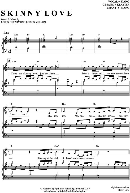 Skinny Love Klavier Gesang Birdy Pdf Noten Klick Auf Die