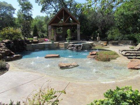 Beach Entry Pools Fort Worth Custom Pools Inc Beach Entry Pool Custom Pools Backyard Pool
