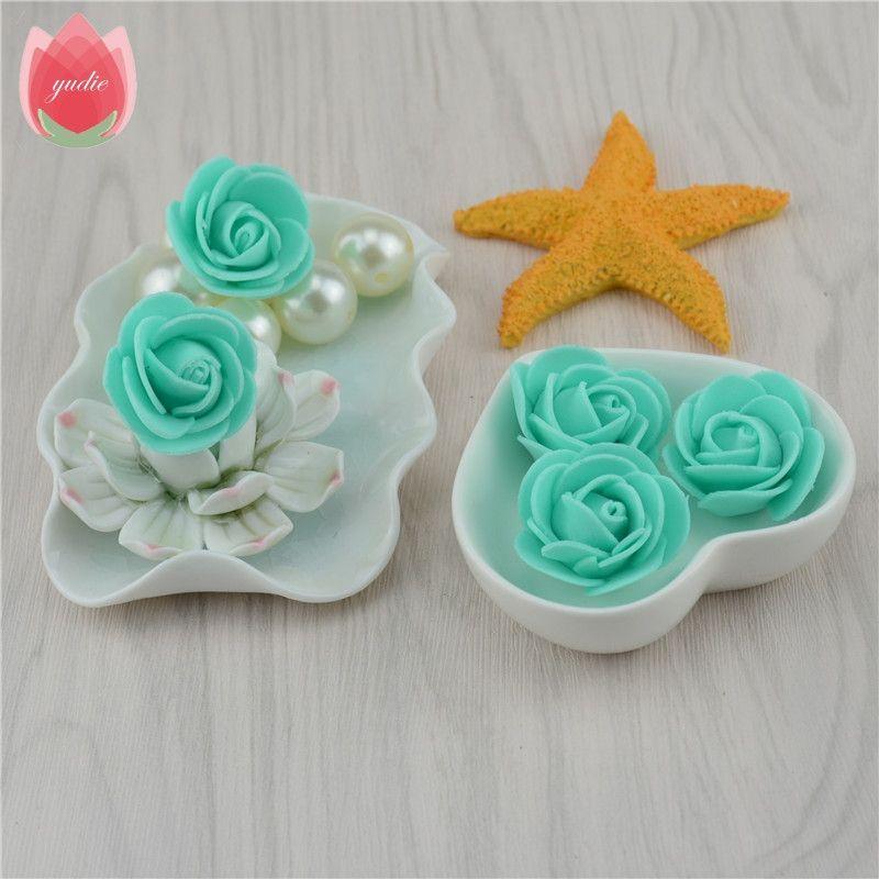 30pcs Mini PE Foam Rose Artificial Flowers For Wedding Box Handmade Decoration DIY Pompom Wreath Valentine's day Fake Flowers