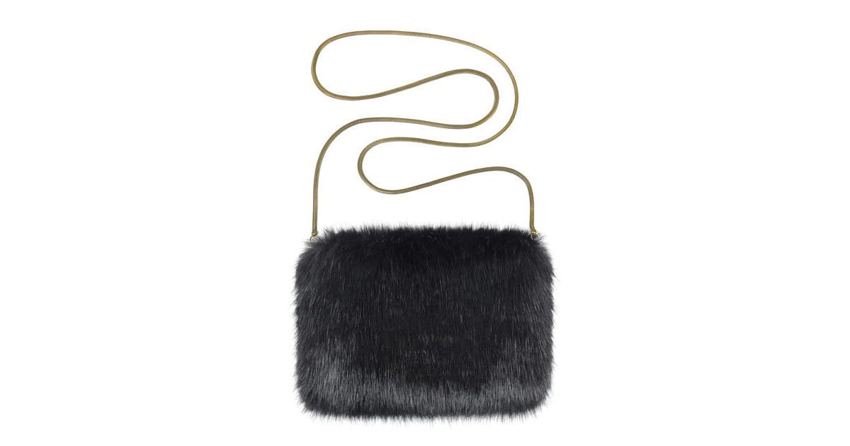 Elegantly stylish Jet black faux fur designer bag with chain strap from  Helen Moore 877a61e17b688